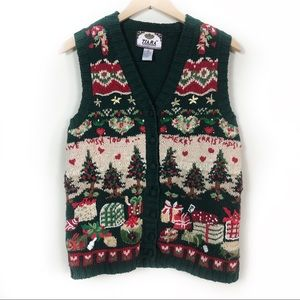 Ugly Christmas Sweater Vest Women's Large Vintage